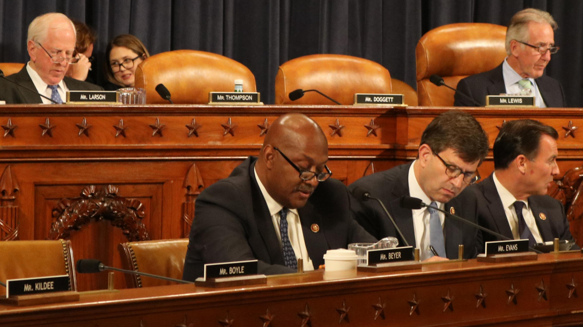 Congressman Dwight Evans speaking at a House Ways and Means Committee hearing on the Butch Lewis Act