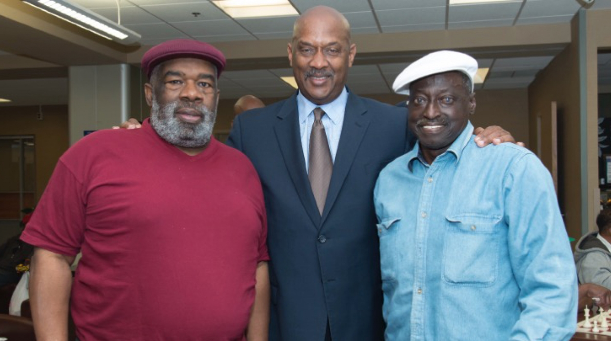 Congressman Dwight Evans meets with veterans at Philadelphia VA Medical Center. (Compliments of Corporal Michael J. Crescenz VA Medical Center in Philadelphia)